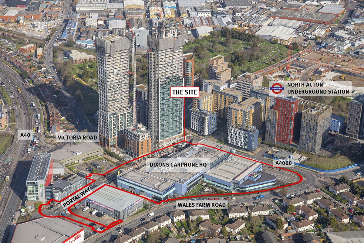 North Acton, with the One Portal Way site indicated